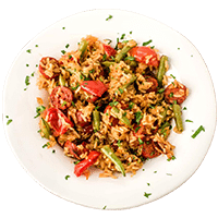 Chorizo Paella with Cherry Tomatoes