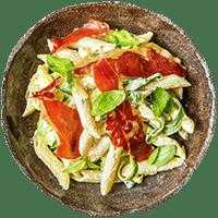 Creamy Basil & Serrano Ham Pasta with Zucchini Ribbons