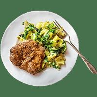 Honey Mustard Lamb with Minted Popeye Potato Salad