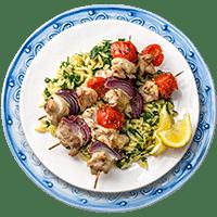 Lemon & Garlic Chicken Kebabs with Pesto Risoni