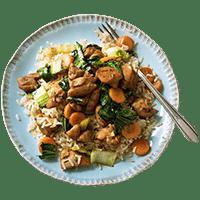 Teriyaki Chicken Stir Fry with Brown Rice & Baby Bok Choy