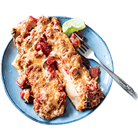Veggie Cheesy Bean Enchiladas with Mixed Salad Leaves