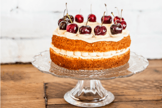 Coconut & Cherry Layer Cake