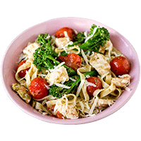 Fettuccine Pesto Chicken with Broccoli & Cherry Tomatoes