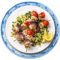 Lemon & Garlic Chicken Kebabs with Pesto Risoni