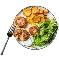 Salmon Cakes with Sweet Potato Thins & Dill Yoghurt