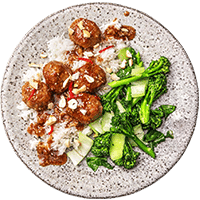 Sesame-Hoisin Meatballs with Garlicky Greens & Jasmine Rice