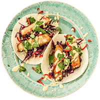 Spicy Tofu Tacos with Mango Mayonnaise & Crunchy Slaw