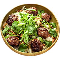 Sticky Pork Meatballs with Crunchy Cashews