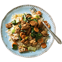 Teriyaki Chicken Stir Fry with Brown Rice & Baby Bok Choy
