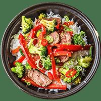 Warm Teriyaki Beef with Broccoli Jasmine Rice & Sesame Seeds