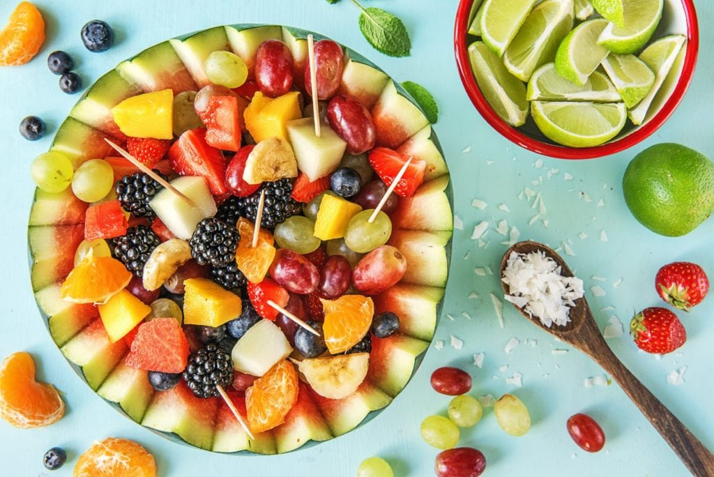 fruit salad served in a watermelon
