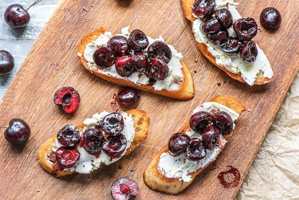 Goat's Cheese and Cherry Crostini