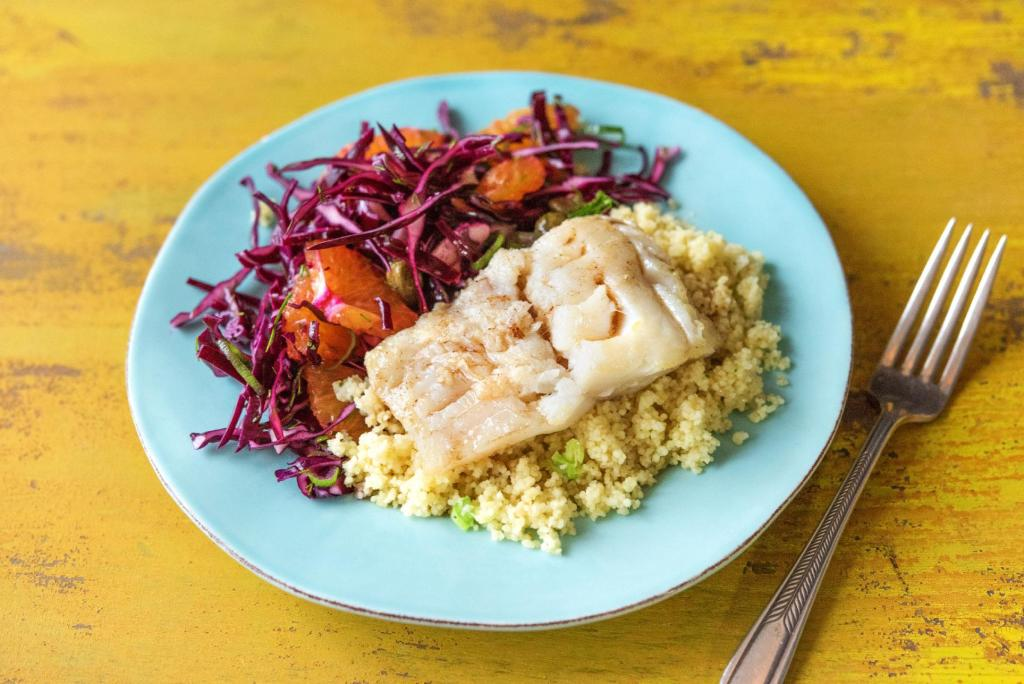 citrus recipes-seared-cod-orange-dill-slaw-HelloFresh