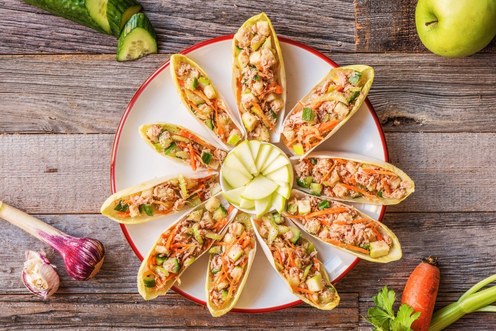 appetizers for a crowd-endive-tuna-boats-HelloFresh