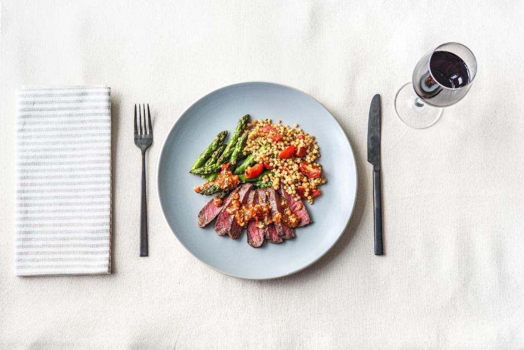 how to cook asparagus-Romesco-New-York-Strip-Steak-Asparagus-Toasted-Couscous-recipe-HelloFresh