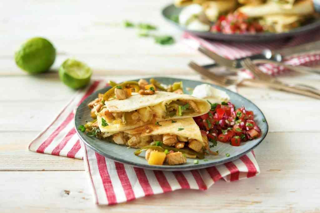 cilantro recipes-cinco-de-mayo-reservation-in-HelloFresh-chicken-pineapple-quesadillas