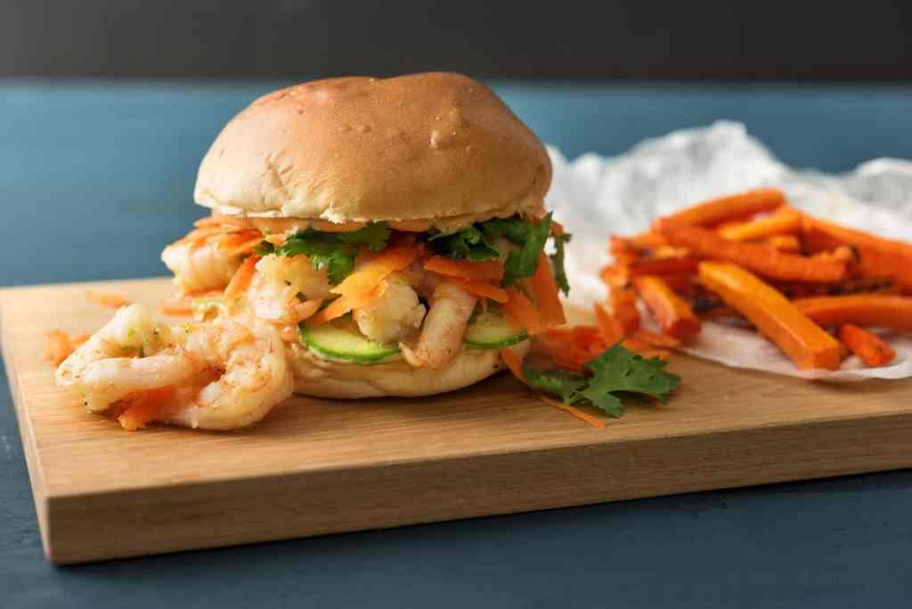 cilantro recipes-reservation-in-HelloFresh-shrimp-banh-mi-burger