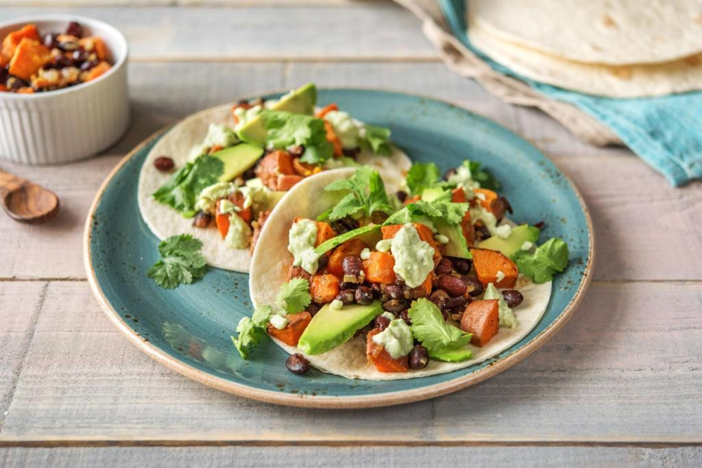 cilantro recipes-cinco-de-mayo-reservation-in-HelloFresh-sweet-potato-black-bean-tacos
