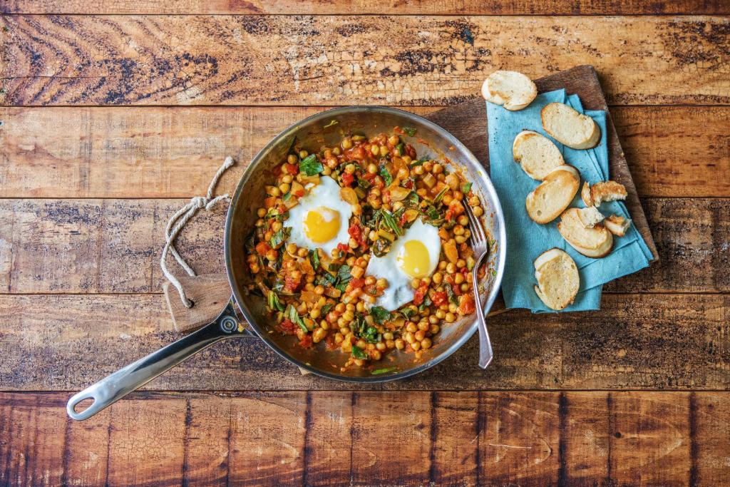 cilantro recipes-reservation-in-HelloFresh-eggs-chickpeas-swiss-chard-breakfast-brunch