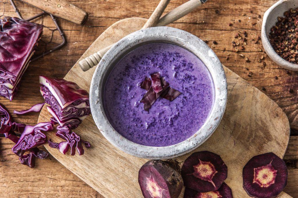 vegetarian soup recipes-purple-cabbage-potato-colorful-HelloFresh