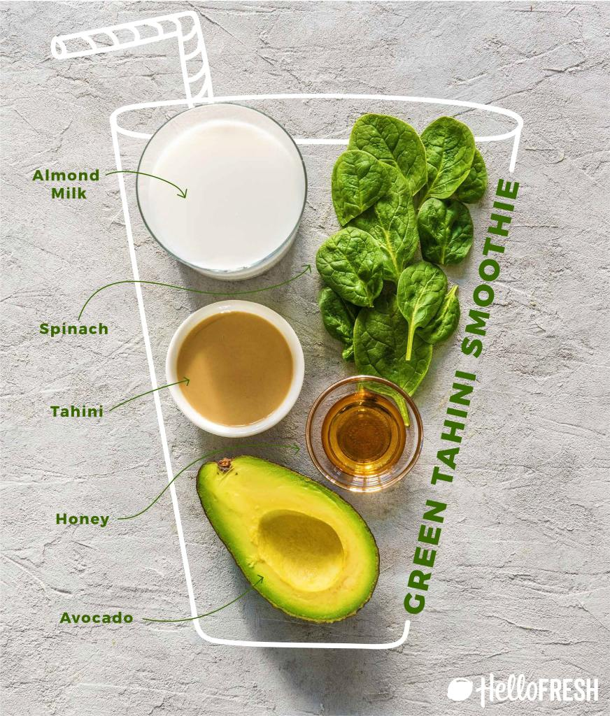 different colored tahini smoothies-spinach-avocado-recipe-infographic-HelloFresh