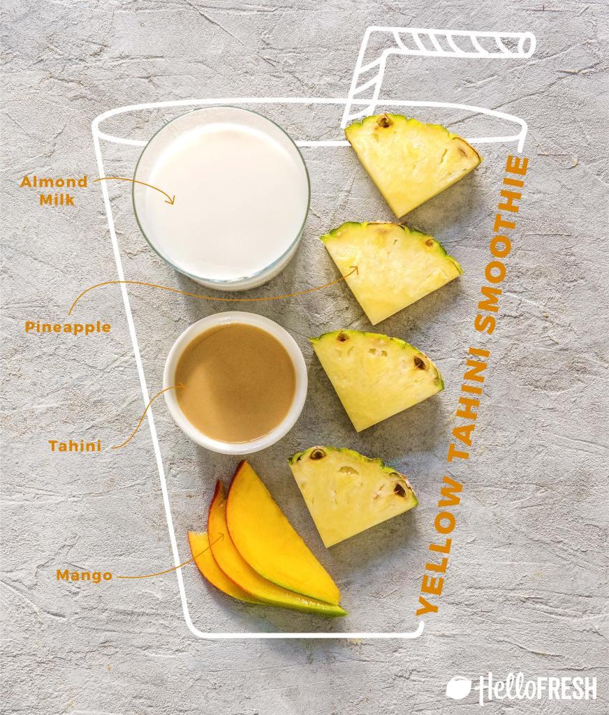 different colored tahini smoothies-pineapple-mango-infographic-recipe-HelloFresh