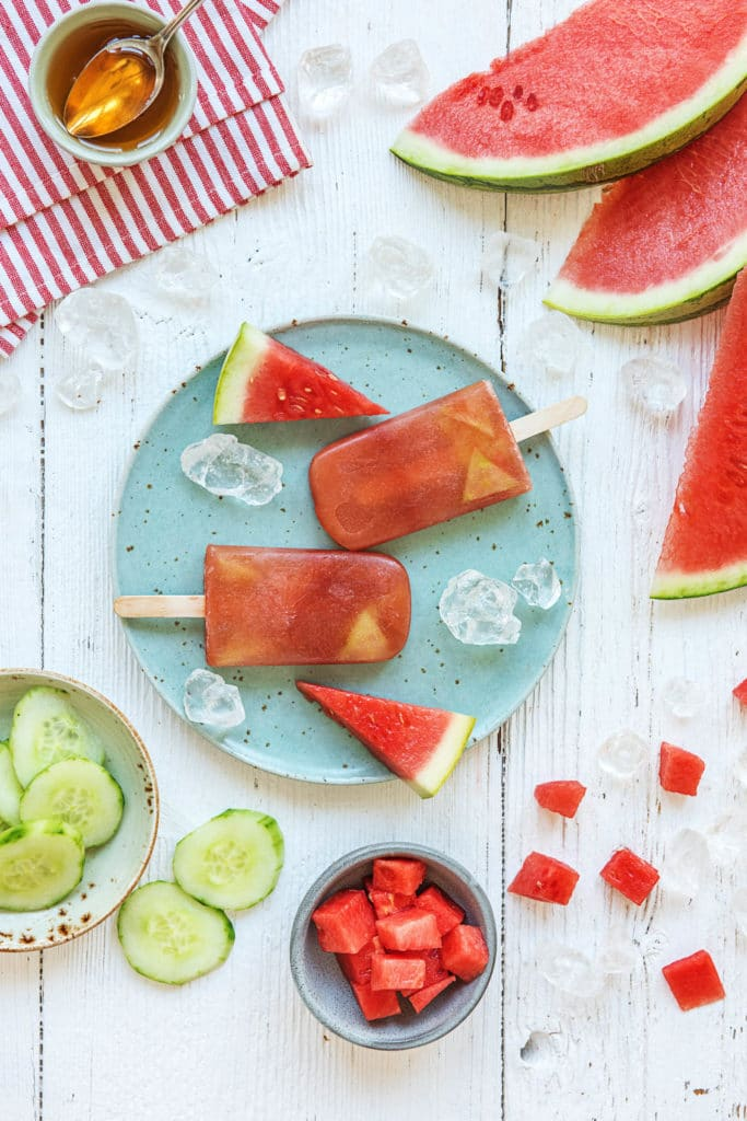 watermelon recipes-HelloFresh-cucumber-watermelon-popsicles
