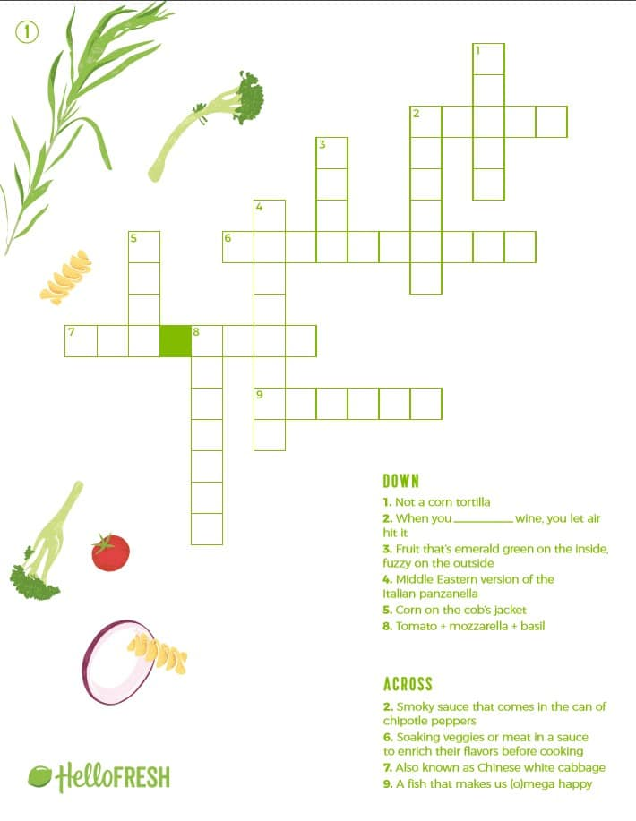 graphic regarding Fun Crossword Puzzles Printable referred to as 4 Exciting (and Printable!) Cooking Crossword Puzzles The Clean
