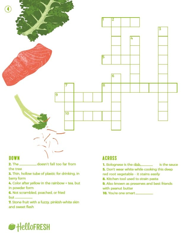 4 Fun (and Printable!) Cooking Crossword Puzzles | The Fresh