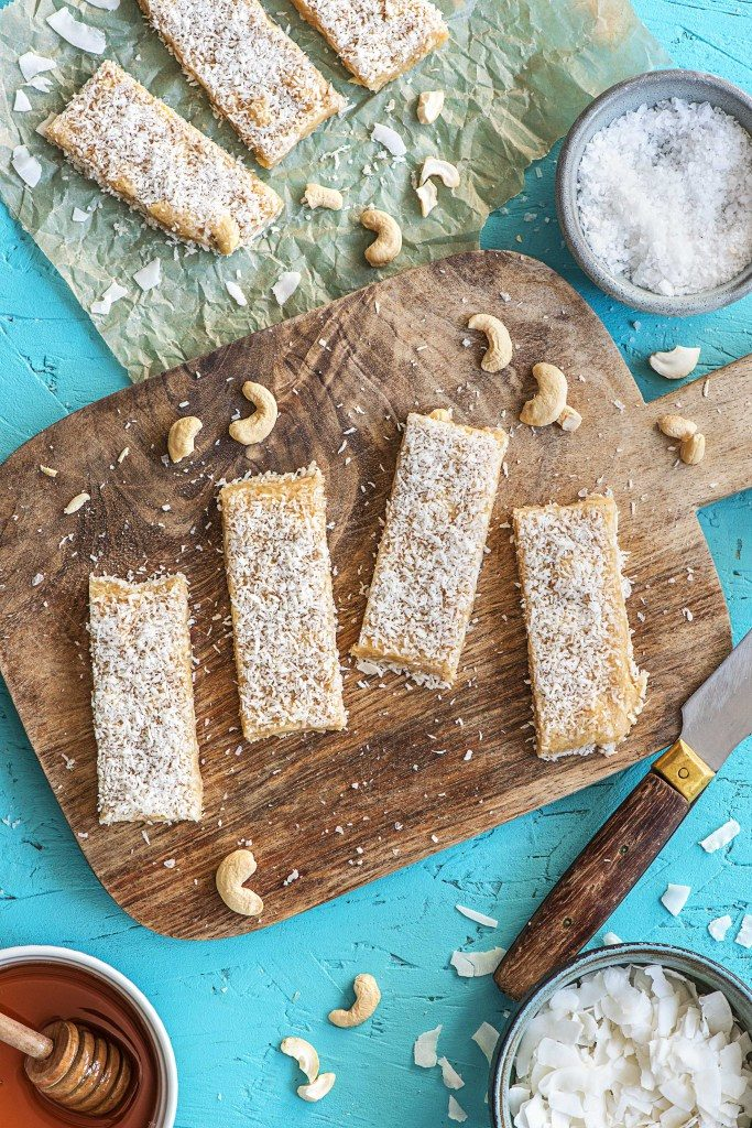 healthy dessert recipes-no-bake-nutty-coconut-bars-HelloFresh