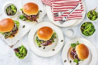 meatloaf burgers-HelloFresh-pepita salad
