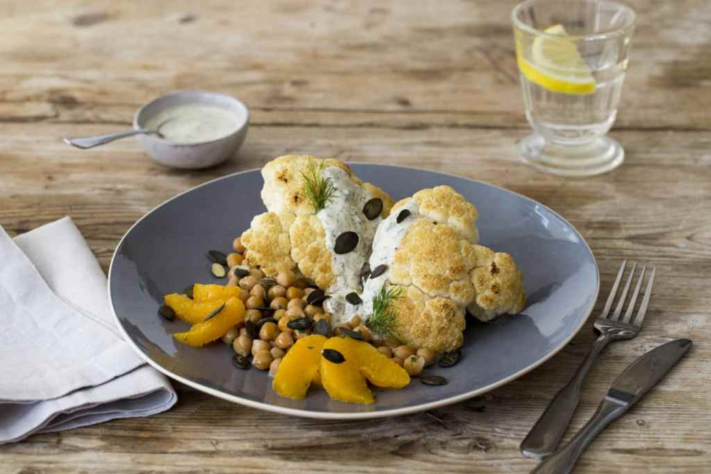 recipes with dill-HelloFresh-Mediterranean-Whole-Roasted-Cauliflower-Coriander-Spiced-Chickpeas-Dilled-Yogurt-Sauce
