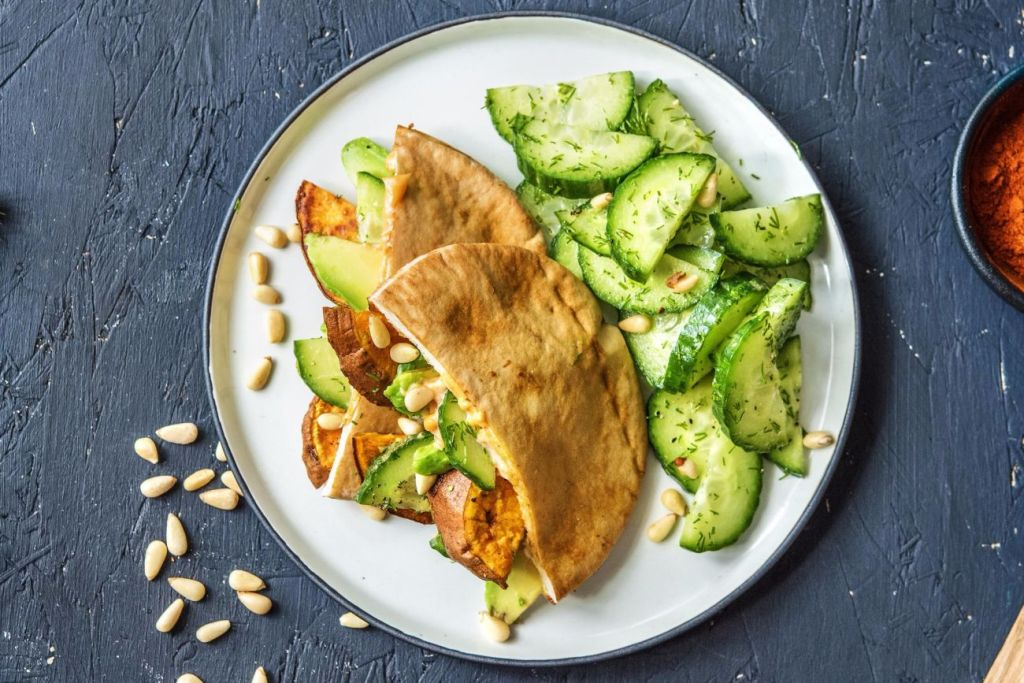 recipes with dill-HelloFresh-harissa-sweet-potato-pockets-cucumber-dill-salad