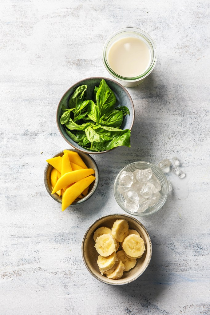 repurpose-fresh herbs-HelloFresh-mango-banana-basil-smoothie