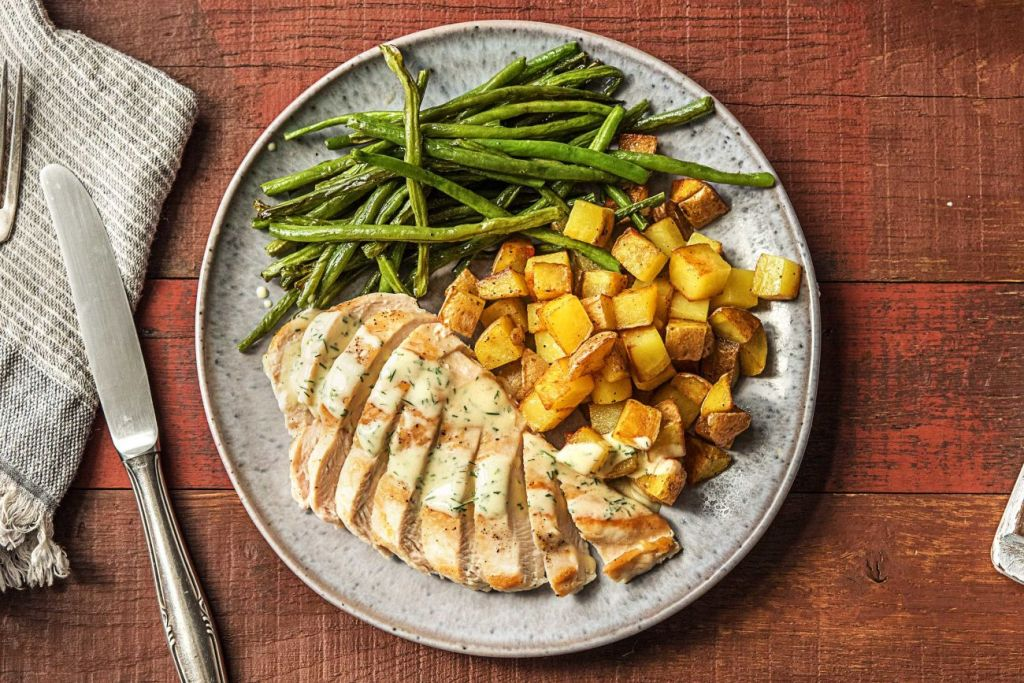 cooking chicken-guide-HelloFresh-creamy-dill-chicken-breasts-green-beans-roasted-potatoes