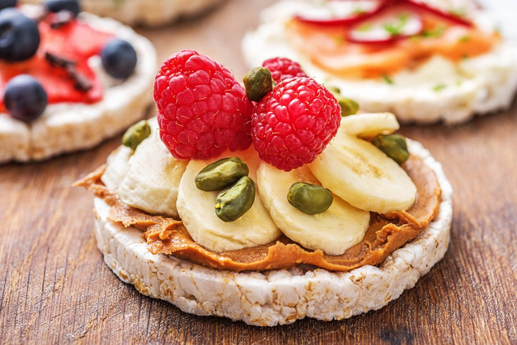 easy snacks-rice cakes-nut butter-fruit-HelloFresh