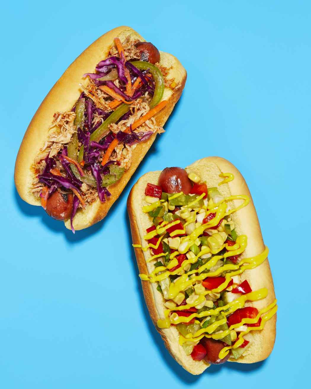 Quick Corn Chow Chow Hot Dog + Carolina BBQ Pulled Pork and Slaw Hot Dog