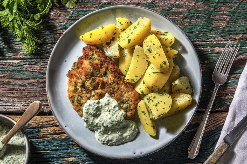 Kräuterschnitzel mit Grüner Soße