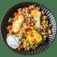 Taboulé-Salat mit würzigem Halloumi