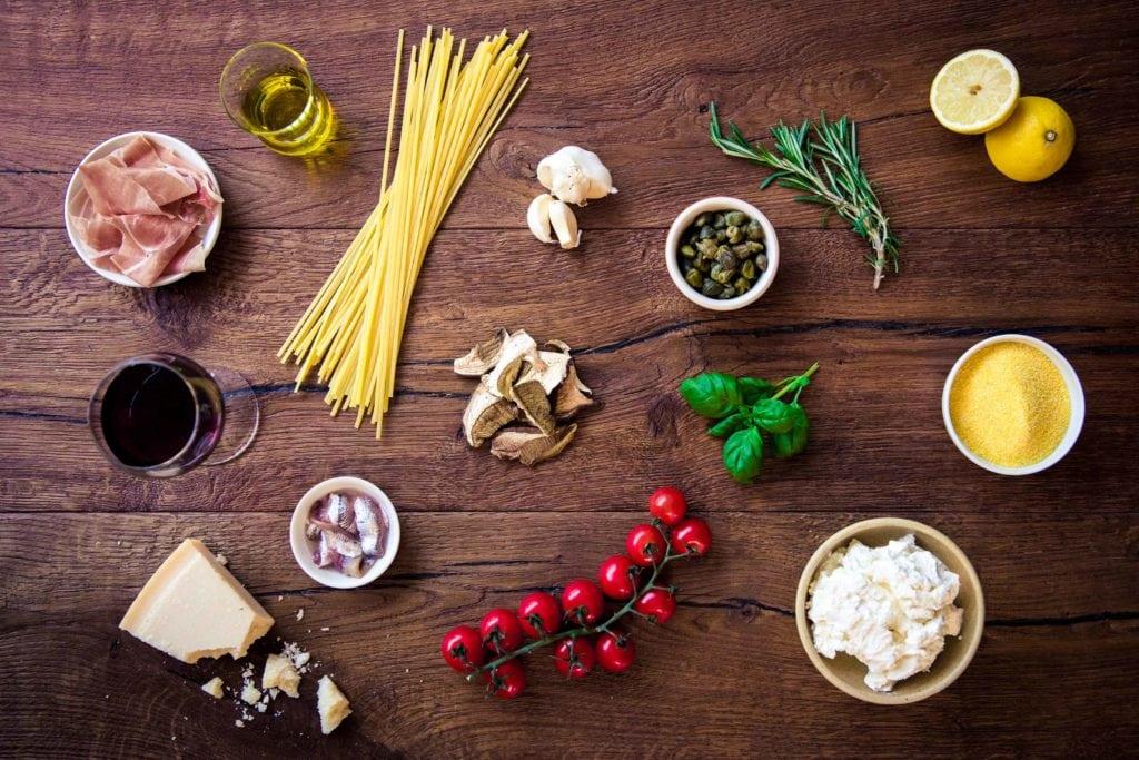 Zutaten der italienischen Küche