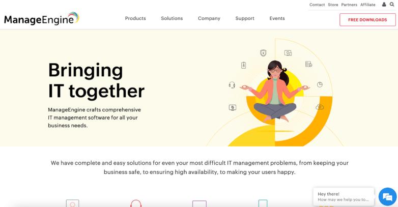 The ManageEngine homepage