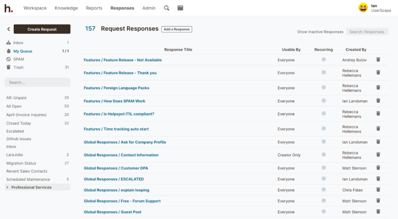 HelpSpot's interface: Request Responses