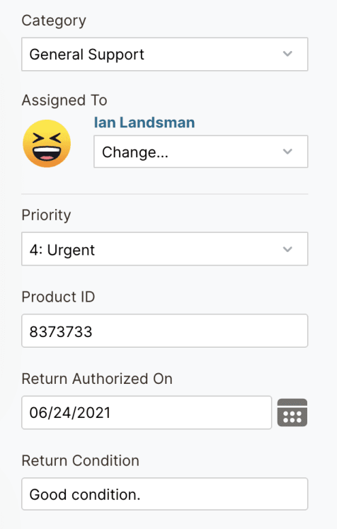 HelpSpot Category, Assigned To, Priority, Product ID, Return Condition
