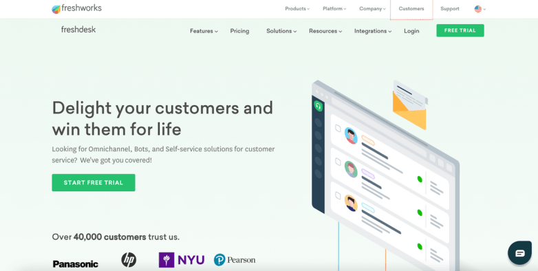 Freshworks Freshdesk homepage: Delight your customers and win them for life.