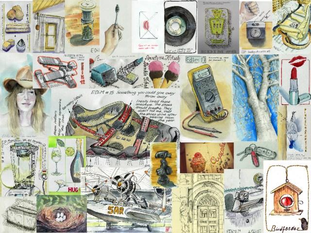 Collage aus den Skizzen im Mai 2015, Jutta Richter, Zeichnungen