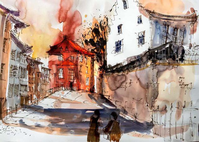 Bremgarten, Tine Klein , Zeichnung mit Tinte auf Aquarell