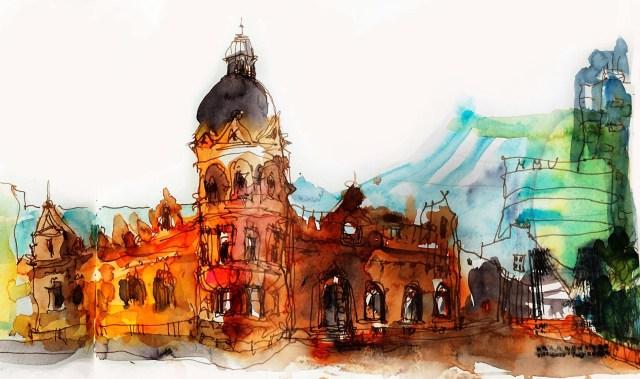 Tine Klein das rote Haus am All Saint´s Garden Manchester Tinte über Farbe