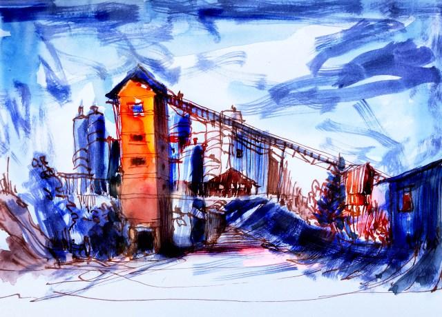 Tine Klein, Herz der Kunst, Tinte schnelle skizze eines Alltagsmotives