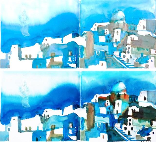 Tine Klein malen lernen Anleitung Licht und Schatten Kuppeln Santtorin